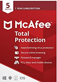 McAfee Total Protection 2021 | 5 Device | 1 Year | Antivirus Software, Internet Security, Password Manager, Mo