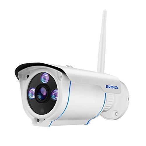 Wlan IP Kamera 1080P HD Sicherheitskamera Außen /IP cam mit LAN & Wlan/Wifi IP66 Wasserdicht, P2P Pantilt Bewegungsmelder,Email, 20 IR Nachtsicht, für Haustier/Baby Monitor by SZSINOCAM Ge-cctv-kameras