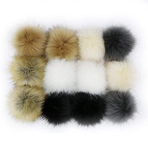 Wpqes fai da te 12pcs faux fox fur fluffy pompon palla per maglieria cappelli, borse, portachiavi, scarpe, 10 cm (4