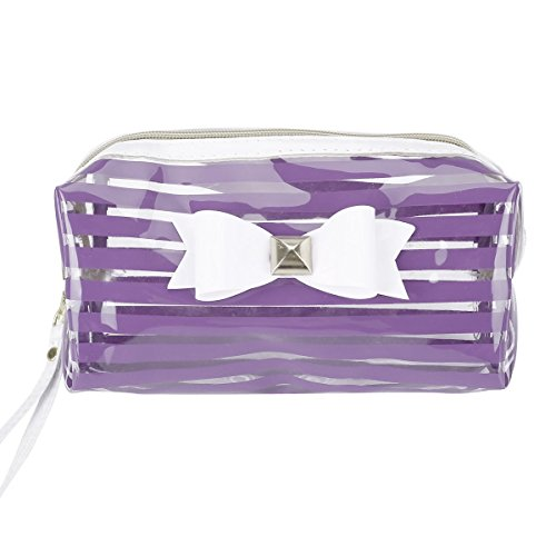 TININNA Clear Stripe Bowknot Pencil Case Pen Bag Pencil Holder Cosmetic Makeup Bag Stationery Pouch Bag for Boys Girls School Purple