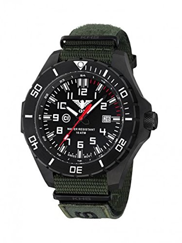 KHS Tactical Mens Watch Landleader Black Steel KHS.LANBS.NXTO1