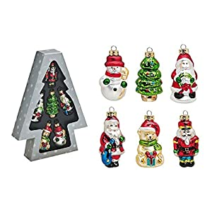 Tannenbaumschmuck Christbaumschmuck 6-teilig Nussknacker, Schneemann, Tannenbaum, Nikolaus, Weihnachtsbär