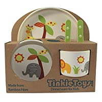 5-Piece Safari Animal Bamboo Dinner Set for Children by TINKIE TOYS: Kids Dining Set Includes Bamboo Plate, Toddler Cutlery, Baby Bowl and Kids Cup/Mug - Eco Friendly, Toxic Free and Dishwasher Safe
