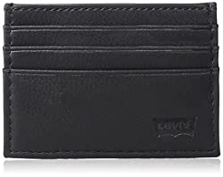 Levi Men Front Pocket Slim Wallet with Money Clip Bottle Opener, black, One Size