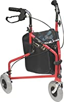 Aidapt 3 Wheeled Steel Tri Walker Rollator Walking Frame Mobility Aid | Red