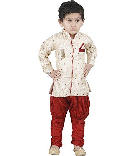 JBN Creation Boys Cotton Silk Sherwani & Breeches Set For Kids (Color:...