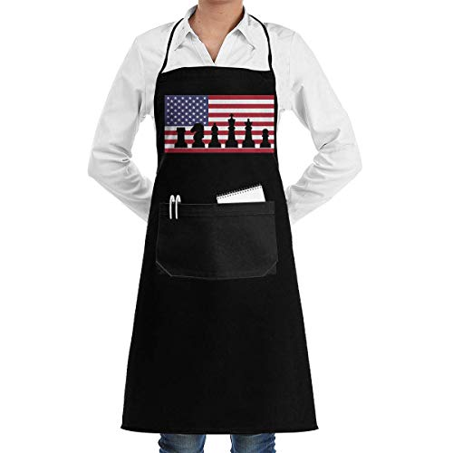 Black Apron American Flag Chess USA Patriotic Player Menâ€s Womenâ€s Unisex Manicure Store Kitchen Long Aprons Sleeveless Overalls Portable with Pocket for Cooking,Baking,Crafting,Gardening,BBQ
