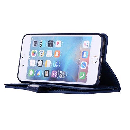 iphone 6 Hülle, iphone 6s Schutzhülle, E-lush Flexibler PU Leder Hülle für iphone 6 6s (4,7 Zoll), Multi-function Wallet Case Hülle mit Kartenfächern und Münzfächern Retro Einfarbig Muster Design Lede Dunkelblau