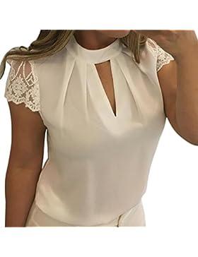 Kword Maglietta Donna Casual Shirt Manica Corta T-Shirt Patchwork Crop Top Camicetta in Pizzo Chiffon Felpe Tumblr...