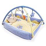 Kenmont Baby Spieldecke Spielbögen Krabbeldecke Babybett Musik-Activity Gym Spielzeug (110x110x50cm, Blau Prinz-Prinzessin)