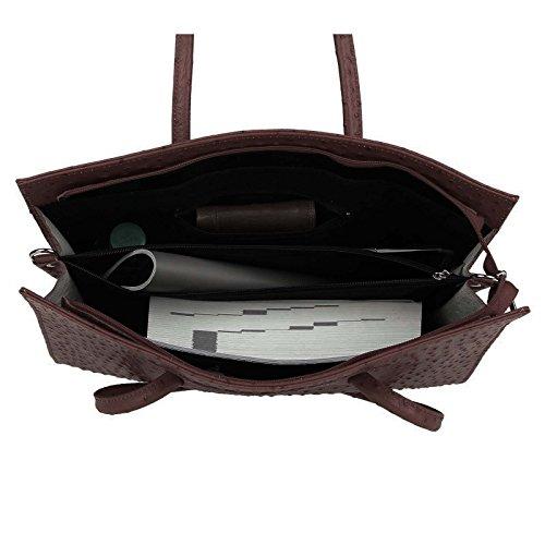 Made in Italy echt Leder DIN-A4 Strauß Prägung Business Aktentasche Tasche Schultertasche Handtasche Henkeltasche 40x30x10 (BxHxT) (Schwarz) Dunkelbraun/Moro