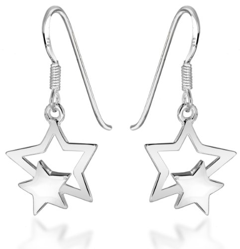 Tuscany Silver Damen Sterling Silber doppel Star 15mm x 30mm Drop Ohrringe 8.54.0909