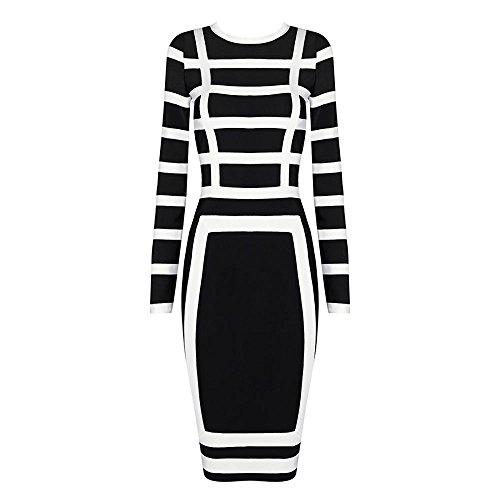 HLBandage Long Sleeve Striped Knee Length Bodycon Bandage Dress Noir