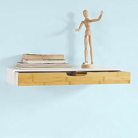 SoBuy® Estante de pared con cajón, Estante estantería para la Sala, estilo moderno, FRG93-WN, ES
