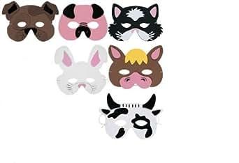1 x Pack de 6 masques d'animaux de la ferme - modèles assortis