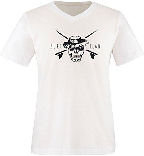 EZYshirt® Pirate Surfteam Herren V-Neck T-Shirt Weiss/Schwarz