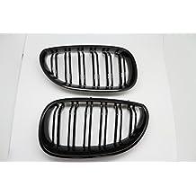 (2) brillo negro Dual Fin rejilla delantera parrilla campana nariz para BMW E60E61Serie 52003–2009