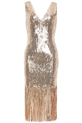letten Kleid Sexy V Ausschnitt Night Club Cocktail Kleid 1920s Retro Stil Great Gatsby Motto Party Damen Fasching Kostüm Kleid (Rose Gold, S) ()