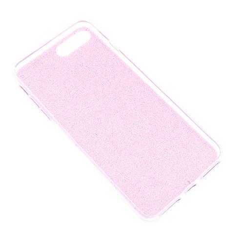 iProtect Apple iPhone 7 Plus, iPhone 8 Plus biegsame TPU Soft Case Hülle Glitzer Pailletten Design in Rosegold asymmetrisch pink