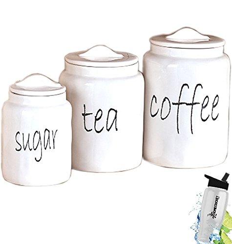 Geschenk; weiß Landhaus Küche zinntheken Zucker Tee Kaffee Kanister Set + Gratis Bonus Wasser Flasche von Home Cricket homecricket (Küche Weiße Set Kanister)