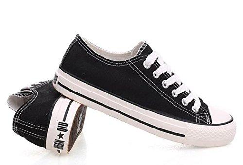 Dayiss Damen Low Top Schnür Sneaker Turnschuhe Leinenschuhe Canvas Textil Schwarz-Weiß
