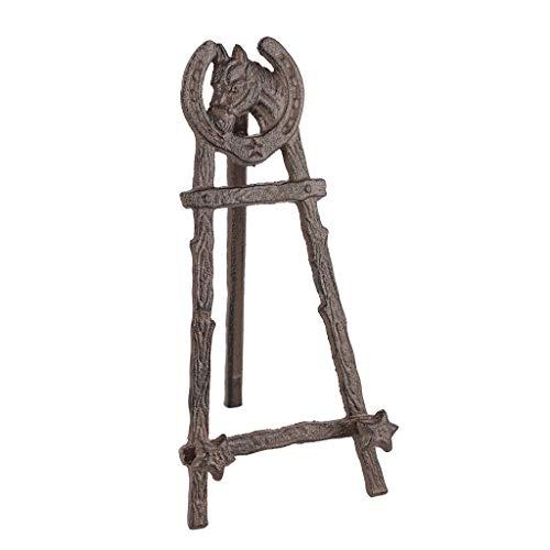 Antik Braun Mini Hufeisen Tischplatte Gusseisen zusammenklappbar Malerei Kunst Staffelei Ständer