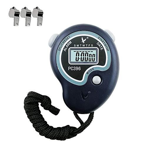 Ebestus digitale cronometro sport professionale con fischio, competition cronometro palmare contatore timer, per sportivo palestra, arbitri, coaches (batteria inclusa)