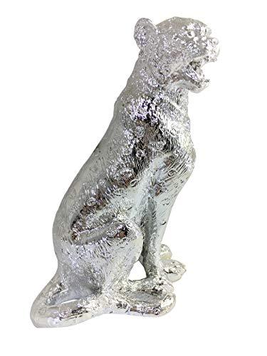 Beyond Porzellan Leopard Figur für Haus Dekoration, Tierstatue Porzellan, Silber-Finish 20 cm, tolles Geschenk, Leopard -