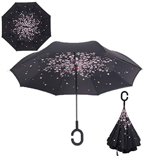WFCUP-Kirschblüten-Baum-Doppelschicht-UVbeweis Winddichtes umgekehrtes Rollen über Regenschirm mit C-förmigem Griff für Auto im Freien
