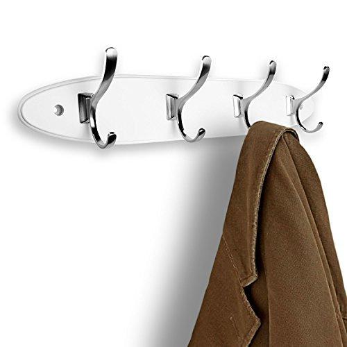 hookiom 623W Oval Mantel und Hut Haken Schiene/Rack an der Wand montiert, schwarz und Satin Nickel 4 Hooks weiß