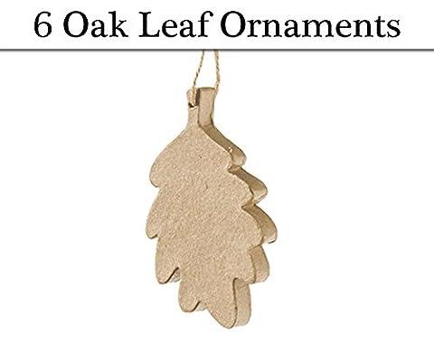 6 Paper Mache Hanging Ornaments - Oak Leaf | Christmas