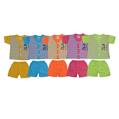 Toon Kids®Multicolor Cotton Night Dress/Casual Dress For Kids Full Open Easy Wear Top(SIZE: 3 Months -1 Years) Pack Of 5