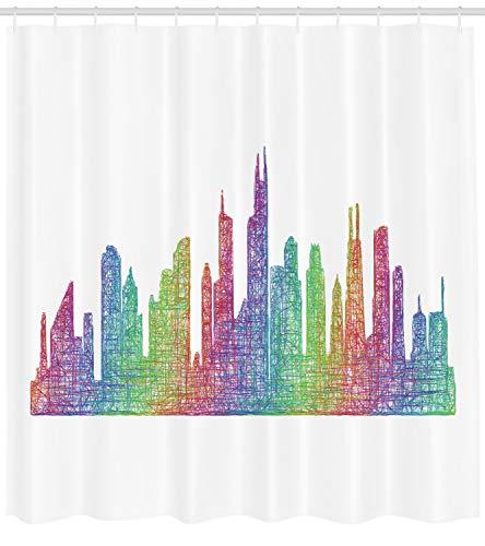 Abakuhaus Chicago Skyline Duschvorhang, Abstrakte Szene, mit 12 Ringe Set Wasserdicht Stielvoll Modern Farbfest und Schimmel Resistent, 175x200 cm, Mehrfarbig