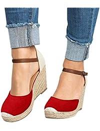 ae79ecf2a6b OverDose Sandales Espadrilles Compensées Femme Mode Lanière Cheville Talon  Plateforme Chaussures Femme Été ...