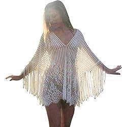 Bikini Cubrir mujer, ❤️ Amlaiworld Trajes de Baño Cubrir mujer Vestido mujer Sexy Verano Crochet Flecos Bikini Cover Up Vestido de playa (Blanco, Tamaño libre)