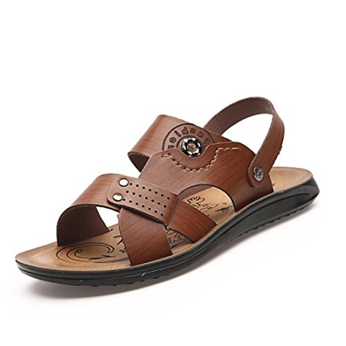 Men's PU Leather Casual Sandals brown