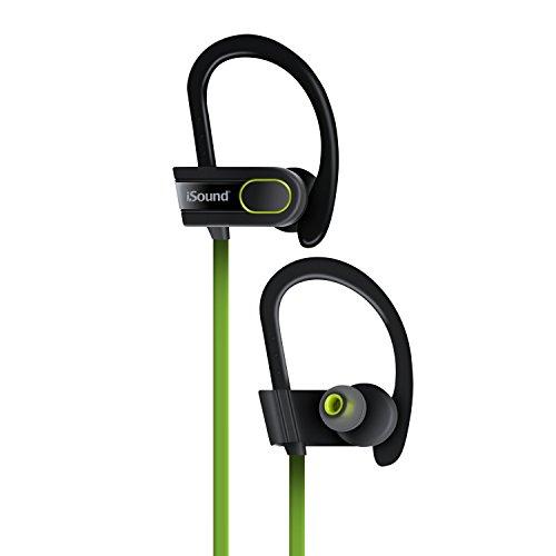iSound ISOUND-– Sport Tone Wireless Bluetooth Kopfhörer–leicht kämmbar sind, mit eingebautem Mikrofon und Lautstärkeregler–Schwarz/Grün One size schwarz/grün