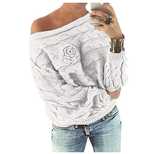 MEIbax Damen Multicolor Striple Flower Pullover beiläufige Gestrickte -
