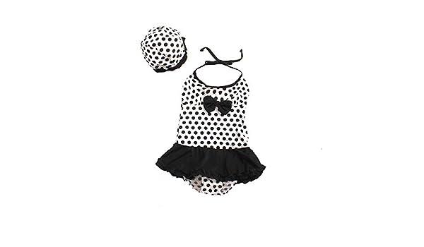 Size : 4 FeliciaJuan Kids Beach Sport Banded One Piece Swimsuit Girls Polka Dot Bowknot One-Piece Swimsuit