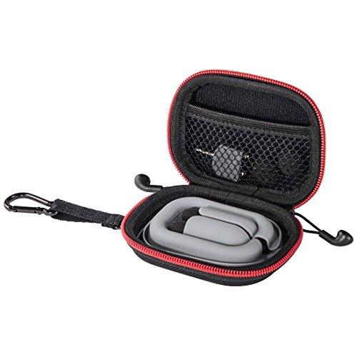 Thomson In-Ear-Kopfhörer Tasche mit Kabel-Aufwickler (Robustes Hard-Case zur Ohrhörer-Aufbewahrung, 2-Wege-Reißverschluss, Zubehör-Netzfach, Karabinerhaken, Innenmaß 6,5X 8,6X 2 cm) rot/schwarz Robustes Hard Case