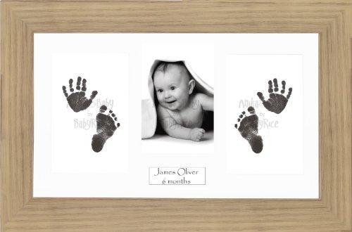 Anika-Baby BabyRice Cadre photo imitation chêne avec kit encre pour réalisation d'empreintes bébé Passe-partout blanc