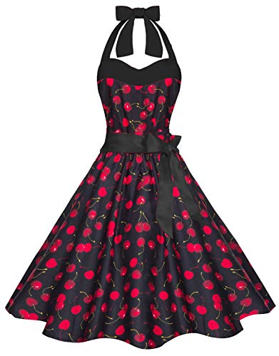 Zarlena Damen 50er Retro Rockabilly Pola Dots Petticoat Neckholder Kleid Schwarz/Kirschen X-Large 4250647201445k