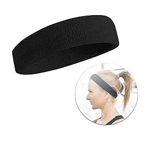 Schweißband Schweissband Stirnband Kopfarmband Kopfband Band Stirn Schweißkopfband Haarband Herren und Damen für Sport schwarz