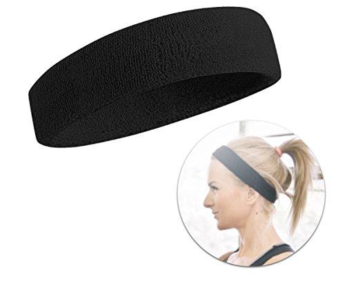 Schweißband Schweissband Stirnband Kopfarmband Kopfband Band Stirn Schweißkopfband Haarband Headband für Herren und Damen für Sport wie Joggen, Laufen, Tennis, Badminton, Squash schwarz für Herren und Damen