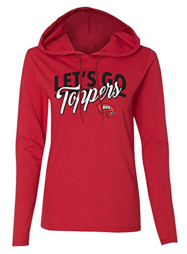 Old Varsity Marke Frauen Long Sleeve Western Kentucky Hilltoppers Damen LS Kapuzen T-Shirt, Damen, Ladies Long Sleeve Hooded T-Shirt, rot -