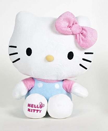 Hello Kitty - Peluche de Hello Kitty con un Lazo Rosa con cintas brillantes (Calidad Soft 18cm) - Shiny Ribbons -
