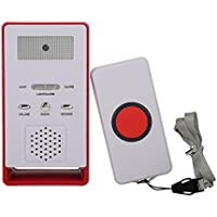 Botón de Llamada del Cuidador inalámbrico Sistema de Alerta Transmisor y Receptor para Pacientes Ancianos Niños Embarazadas(Red)