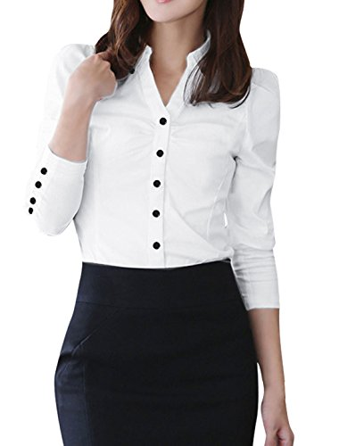 allegra-k-ladies-point-collar-single-breasted-button-decor-cuffs-shirt-m-white