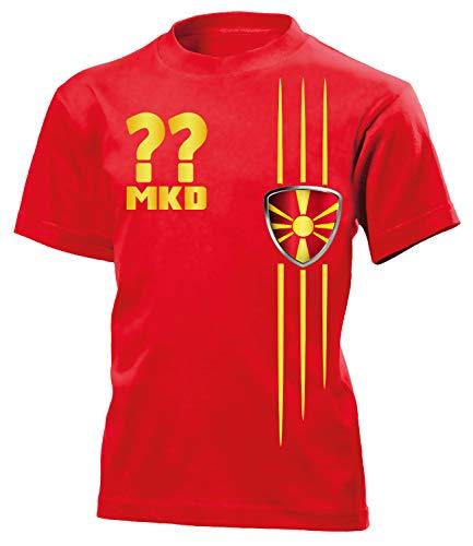 Mazedonien Macedonia Wunsch Zahl ohne Name Fan t Shirt Artikel 4697 Fuss Ball Kinder Kids Jungen Mädchen EM 2020 WM 2022 Trikot Look Flagge 140