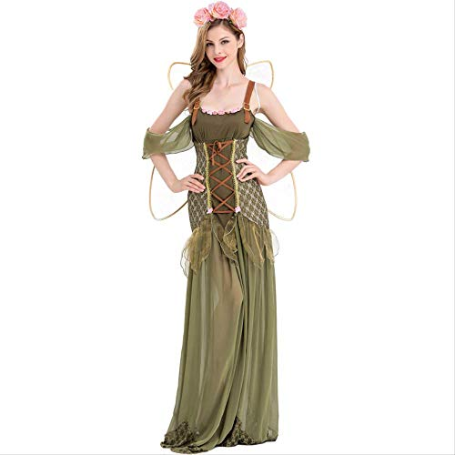 Elf Wald Kostüm - ZmnXnm Halloween Kostüm Grüne Blume Fee, Cosplay Elf Rollenspiel, Kostüm Event Performance Kostüm, Wald Grün Elfe m Grüne Elf